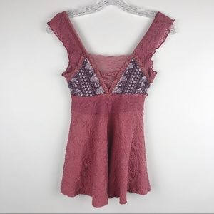 Free People/ Deep V neck Red Lace Knit Tank Top